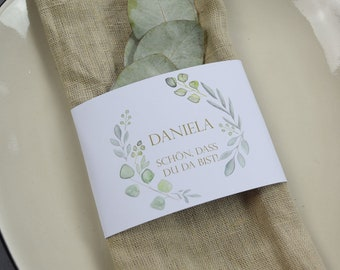"Napkins Banderole ""Sage Love"" Place Card"