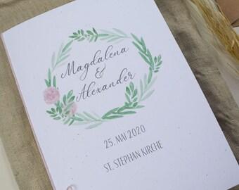 "Church booklet ""Hülle"" Wedding ""Flowers Love"", wedding booklet, church wedding, church sheet wedding"
