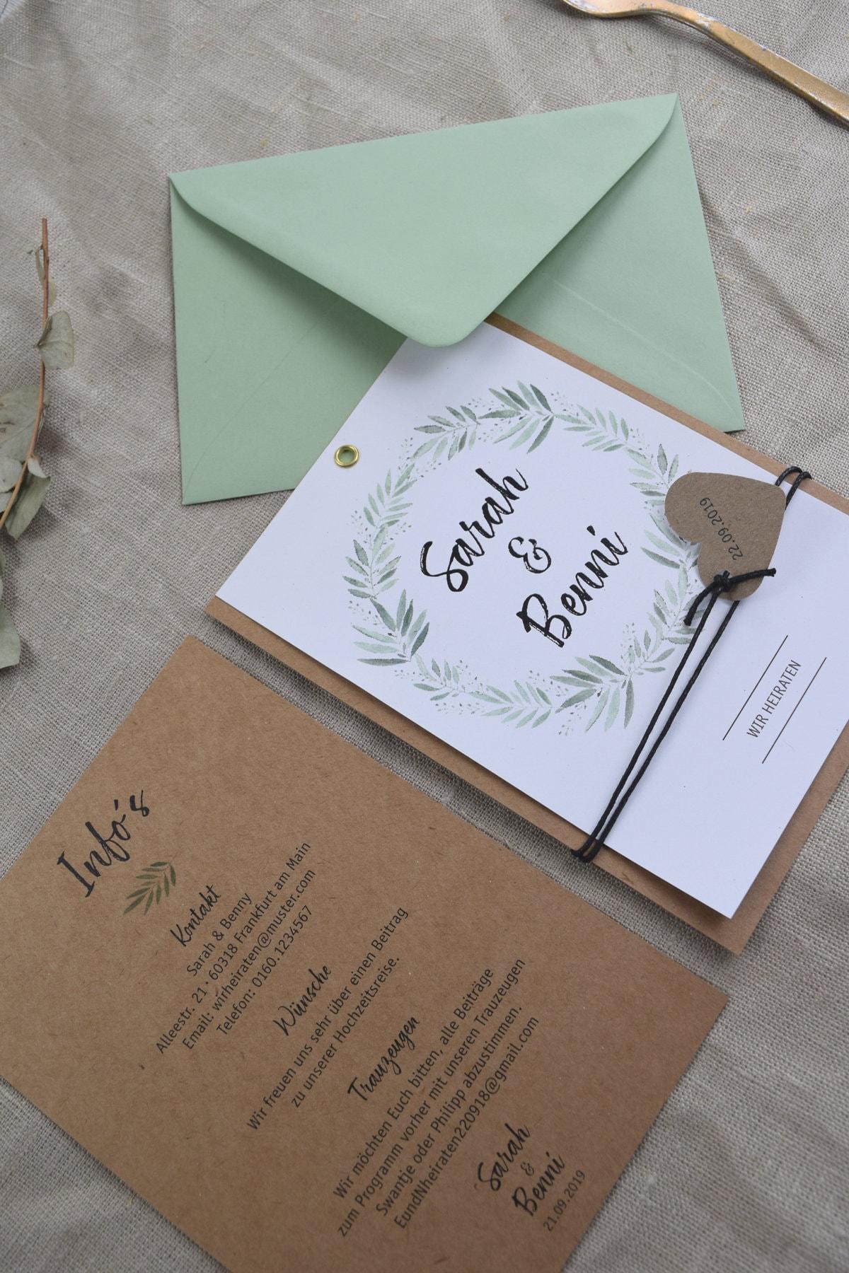 modern vintage card wedding invitation blooming love