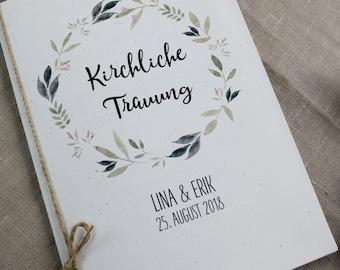 "Church booklet cover wedding ""Natur-liebe"", wedding booklet, church wedding, church sheet wedding"