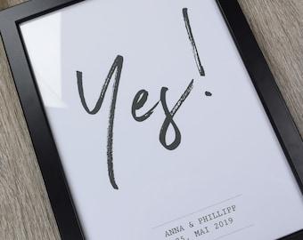 "Poster, guestbook, wedding ""Yes"" individual wedding poster, individual print"