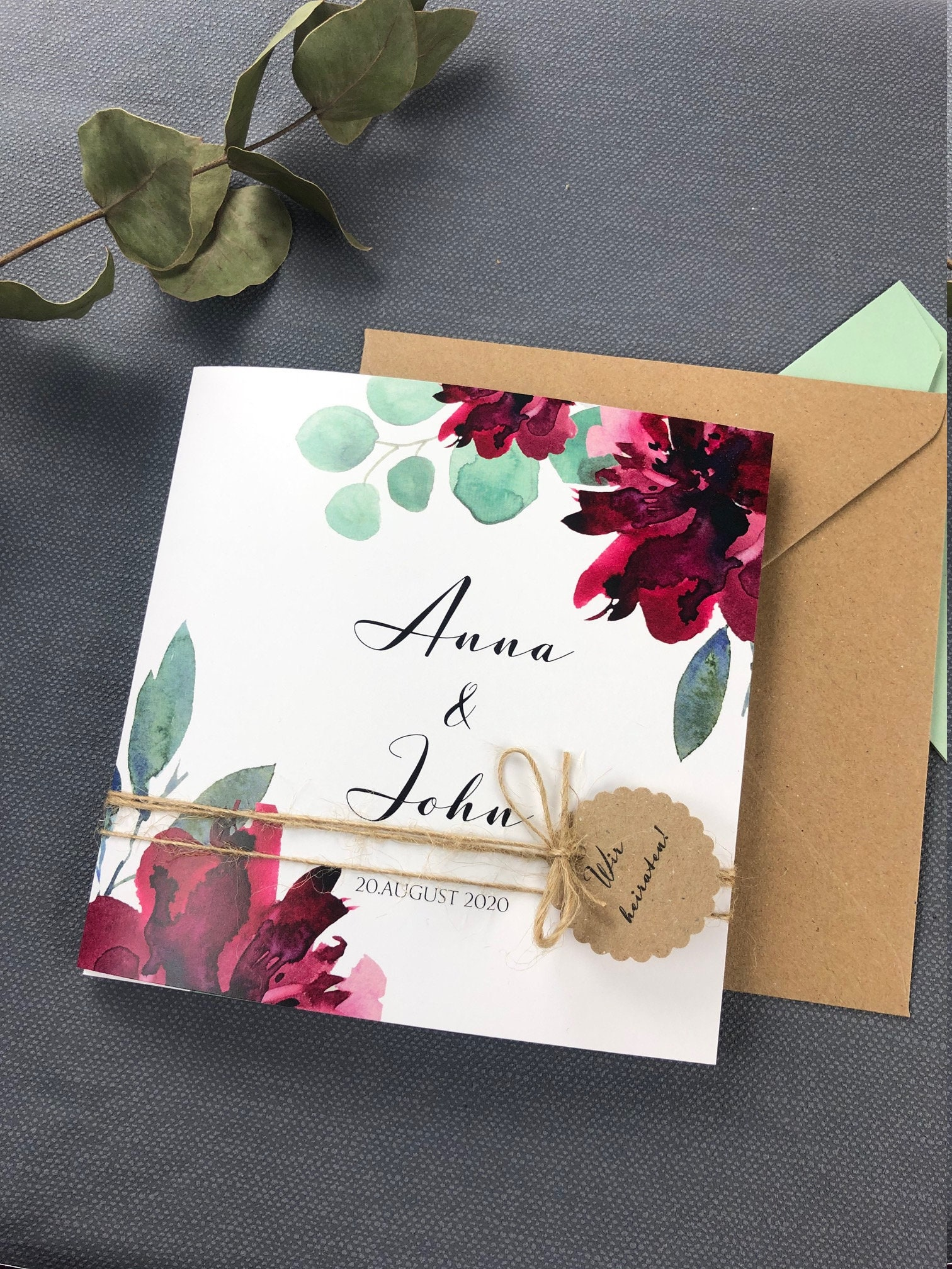 wedding invitation sage  wine red square folding card