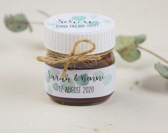 "Papeterie Set Motif ""Eucalyptus"" for Nutella Mini Glass, Personalized, Wedding Gift,"