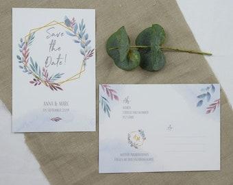 "Save the Date Card Wedding ""Boho Love"" , Wedding Announcement, Wedding Card, Save the Date Card vintage"