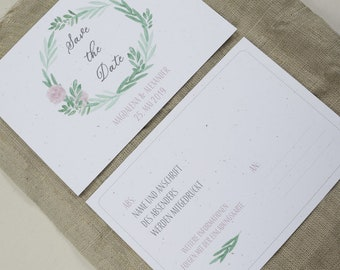"Save the Date Card Wedding ""Flower Love"" , Wedding Announcement, Wedding Card, Save the Date Card vintage"