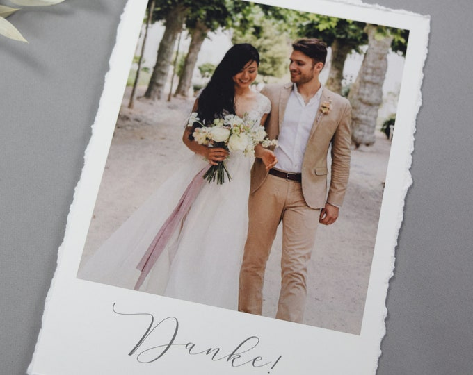 """Featured listing image: Thank You Card """"Thank You 3"""" to Wedding, Ripped Edges Thank You Card to Wedding, Fine Art, Thank You Card, Thanksgiving Wedding"""