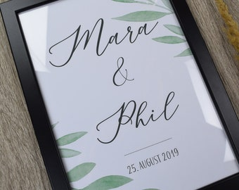 """Poster, guestbook, wedding """"Blätter"""" wedding poster, personalized"""