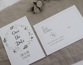 "Save the Date Card Wedding ""Nature Love"" Wedding Cake, Announcement Wedding, Vintage Wedding"