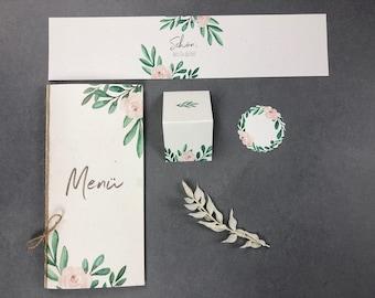 "Stationery set large, ""Green&Blush"", wedding/birthday/baptism, menu card, place card, pendant and napkin banderole in the set"