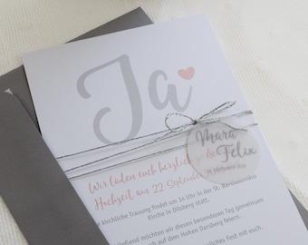 "Wedding invitation ""Yes"", individual invitation card to the wedding, wedding card incl envelope"