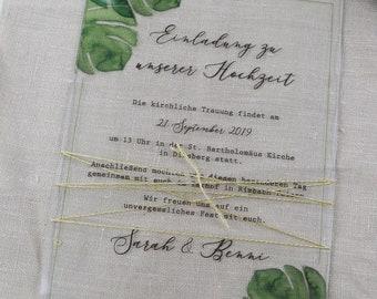 "ACRYLGLAS Wedding Invitation ""Monstera Love Acrylic"", Custom Invitation Card to Wedding, Wedding Card incl Envelope, Acrylic Card Monst"