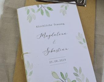 """Church booklet wedding """"Aquarell-liebe"""" wedding booklet, church sheet wedding, church wedding"""
