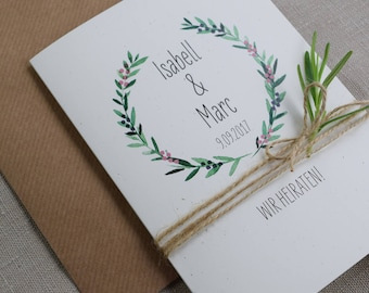 Wedding invitation incl. envelope vintage style, wedding, custom wedding card,card with watercolor design
