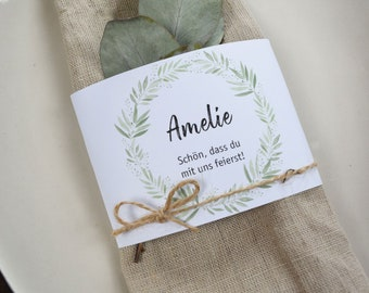 """Napkins Banderole Wedding """"Blooming Love"""" Place Card, Place Card Wedding, Name Card"""