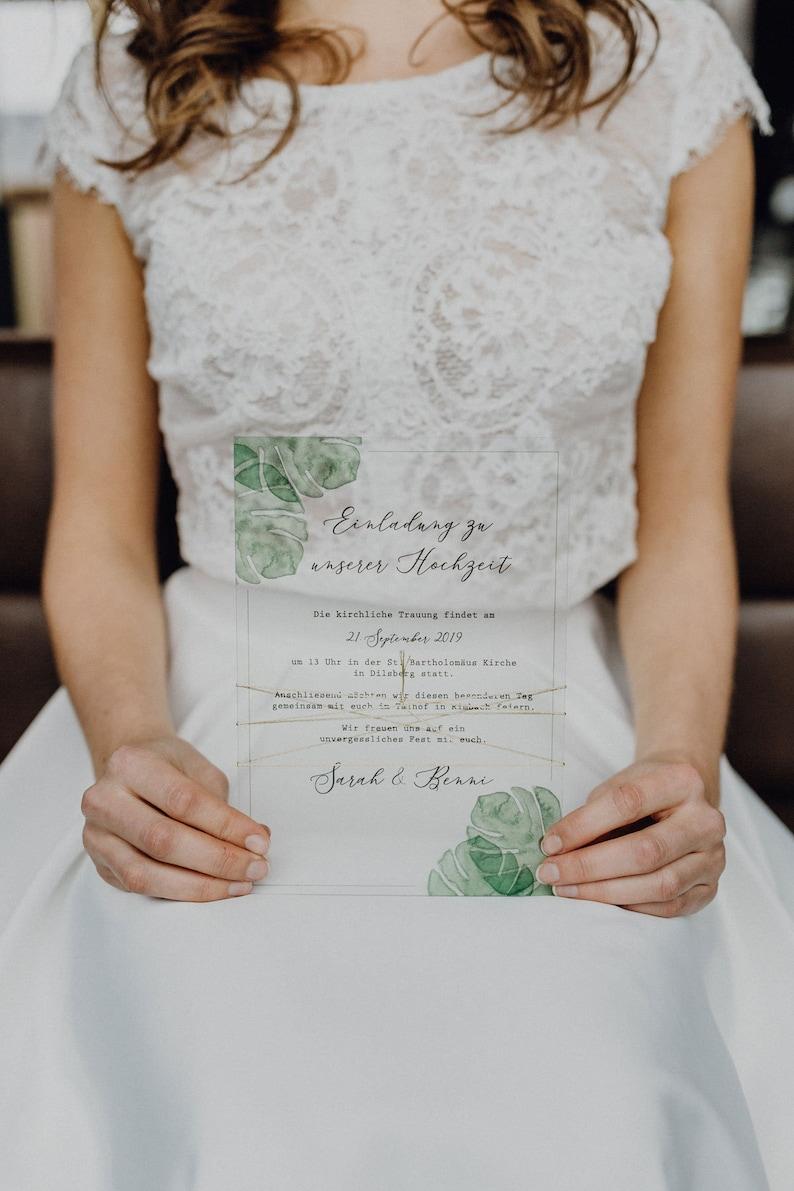 Greenery Acryl Hochzeitseinladung
