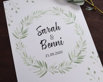 """Poster, guestbook """"blooming love"""" wedding wedding poster, personalized"""