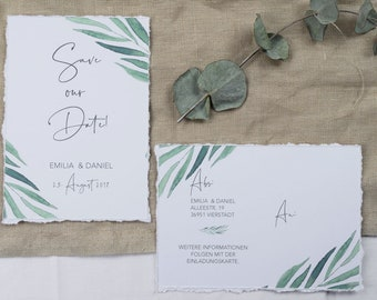 """Save the Date Card Wedding """"lovely green"""" , wedding announcement, wedding card, Save the date card vintage"""