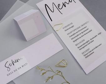 "Stationery set large, ""Green&Blush"" wedding/birthday/baptism, place card and napkin banderole in set"