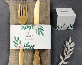 """Stationery set small, """"Green&Blush"""" wedding/birthday/baptism, place card and napkin banderole in set"""