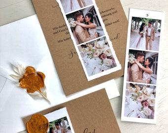 "Thanksgiving Card Wedding ""Photo Stripe"", Thanksgiving to Wedding, Custom Print, Polaroid Look"