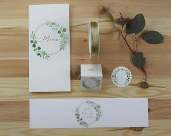 """Papeterie Set groß, """"zu Tisch"""" """"Eukalyptus-Gold-1"""" Hochzeit/Geburtstag/Taufe, Menükarte, Tischkarte, Anhänger und Serviettenbanderole im Set"""