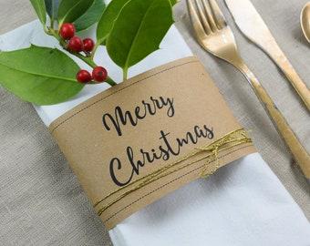 "Napkins Banderole ""Merry Christmas"" Place Card"