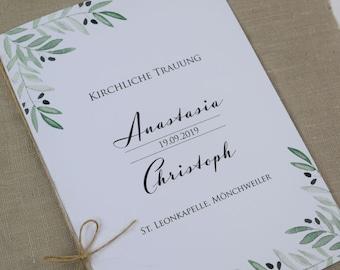 "Church booklet cover, wedding ""Mediterrane-love"" wedding booklet, church sheet wedding, church wedding"