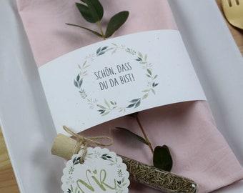"Stationery set small, ""Vintage-3"", wedding/birthday/baptism, pendant and napkin banderole in set"
