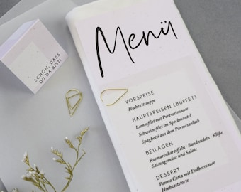 """Stationery set small, """"Gold&Blush"""" wedding/birthday/baptism, place card and menu card in the set"""