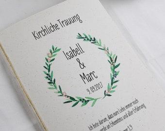 "Church booklet ""Hülle"" Wedding ""Juniper-love"" Wedding booklet, Church sheet Wedding, church wedding"