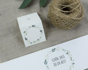 """Stationery set small, """"Vintage-2"""", wedding/birthday/baptism, place card and napkin banderole in the set"""