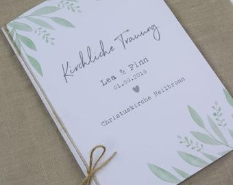 "Church booklet cover, wedding ""Grüne-liebe"" wedding booklet, church sheet wedding, church wedding"