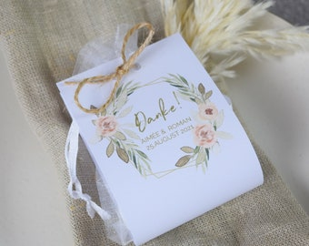 """Guest gifts set wedding """"Apricot & Sage"""" vintage, personalized gift for wedding guests, individual print, table card"""