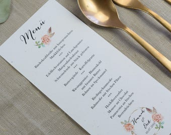 Menu Menu Wedding Motif -Rosy- Menu Wedding, Wedding Menu, Vintage Wedding