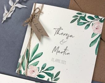 "Wedding invitation ""Green&Blush"", individual invitation card, wedding card, personalized printing"