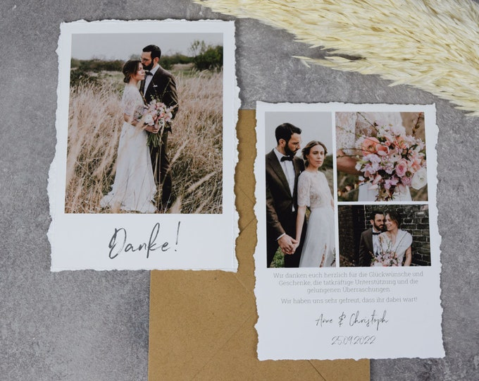 """Featured listing image: Thank you card """"Thank you 5"""" to the wedding, cracked edges Thank you card to the wedding, Fine Art, Thank you Card, Thanksgiving wedding"""