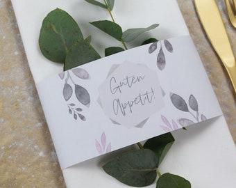"""Papeterie Set klein, """"Eukalyptus-Gold-3"""" Hochzeit/Geburtstag/Taufe, Tischkarte und Serviettenbanderole im Set"""