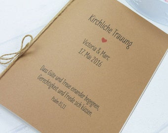 "Church booklet ""Hülle"" ""Herz"" vintage, wedding booklet, booklet for church wedding, personalized church sheet"