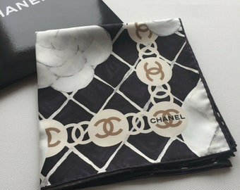 907f442d7620 NEW AUTHENTIC CHANEL Classic Logo Camellia Floral Print Black 100% Silk  Scarf