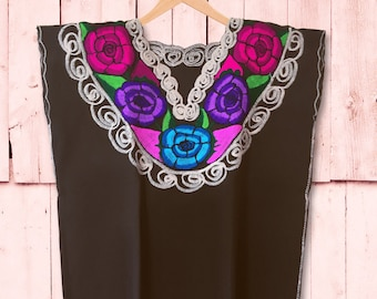 Frida Embroidered Brown Mexican Big Flowers Women Blouse_Boho Style_Handwoven Embroidery