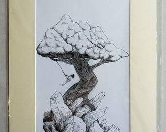 "12x8"" Mounted Print - ""The Lone Tree"