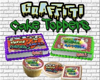 Grunge Graffiti Wall Edible Cake Topper Image Cupcakes Graffiti Edible Image