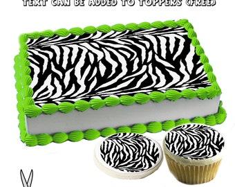 Excellent Zebra Birthday Cake Etsy Birthday Cards Printable Inklcafe Filternl