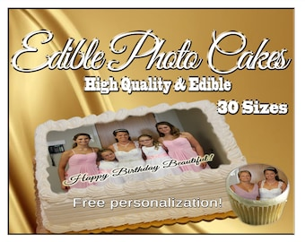 Custom Edible photo cake pictures on frosting paper. Cupcakes cookies toppers photographs decals logos graduation images sugar