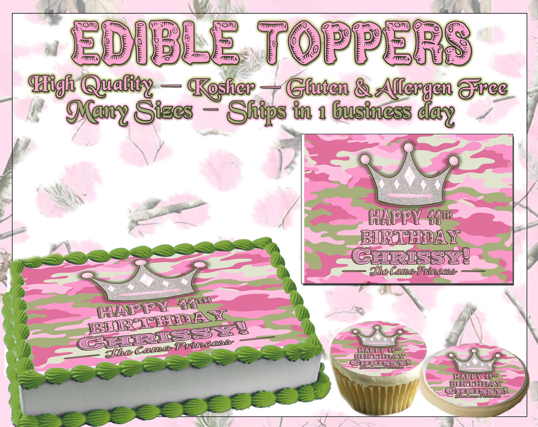 Pink Camo Princess Edible Birthday Cake Toppers Custom Topper