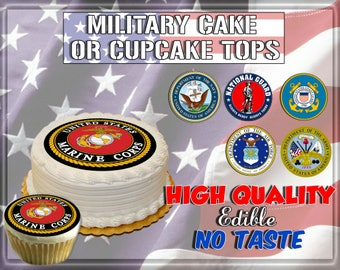 Military Seals edible cake toppers! Picture sugar wafer frosting paper decals images easy army navy marines coast guard national guard round