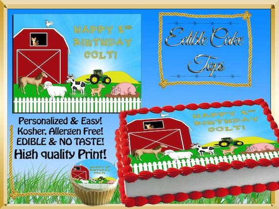 Farm Animals Edible Birthday Cake Toppers Custom Tractor Pig
