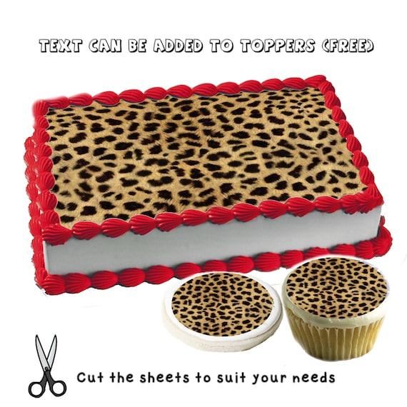 Stupendous Cheetah Print Pattern Birthday Edible Cake Toppers Custom Etsy Funny Birthday Cards Online Benoljebrpdamsfinfo