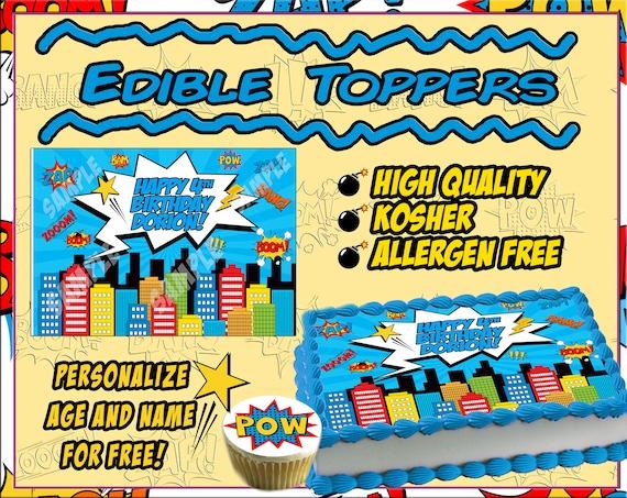 Comic book Birthday Cake topper Edible sugar cupcakes picture paper superhero