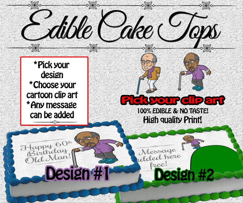 Over The Hill Edible Cake Topper Old Man Birthday Top